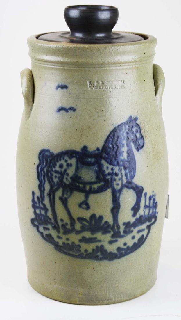 R & B Dieboll horse decorated stoneware churn