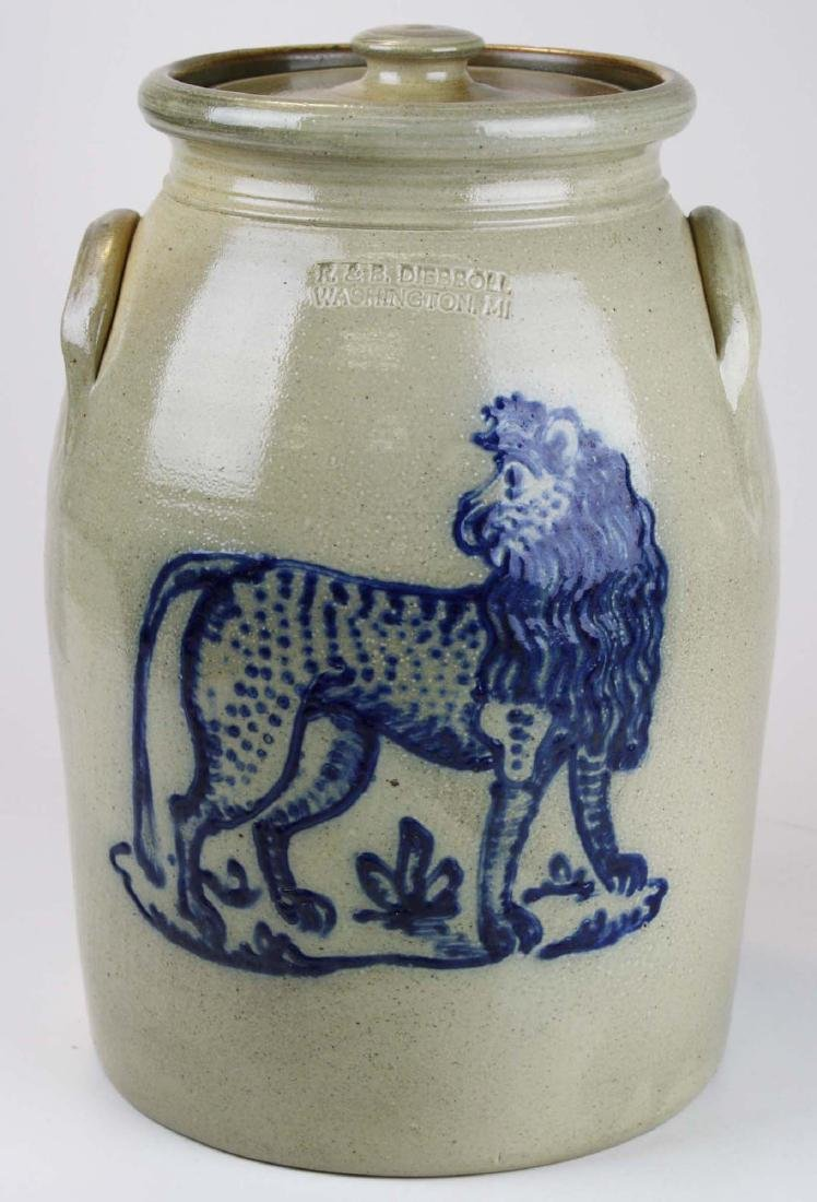 R & B Dieboll lion decorated stoneware crock