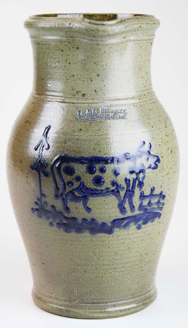 R & B Dieboll cow decorated stoneware pitcher