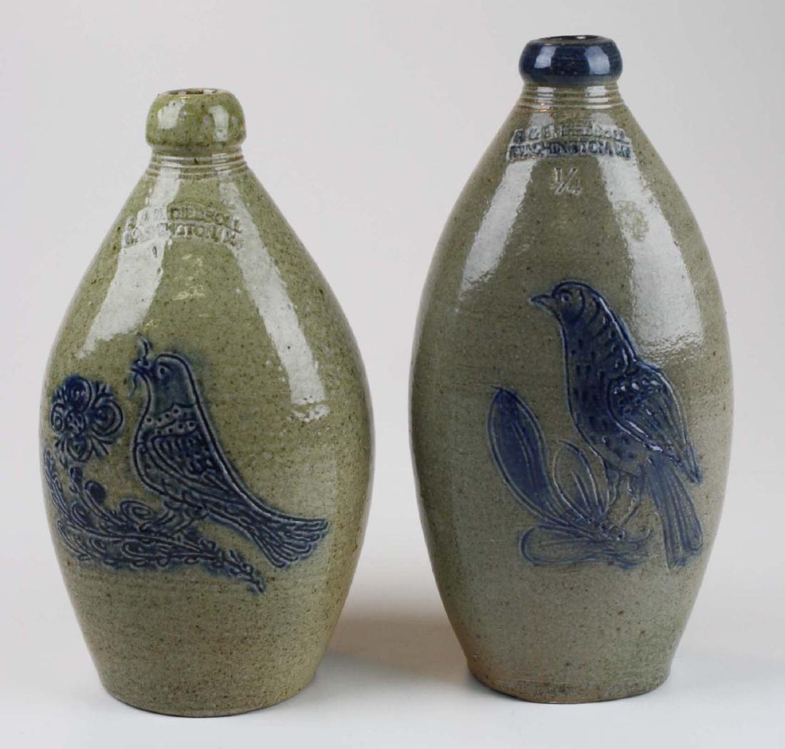 2 R & B Dieboll bird decorated stoneware flasks