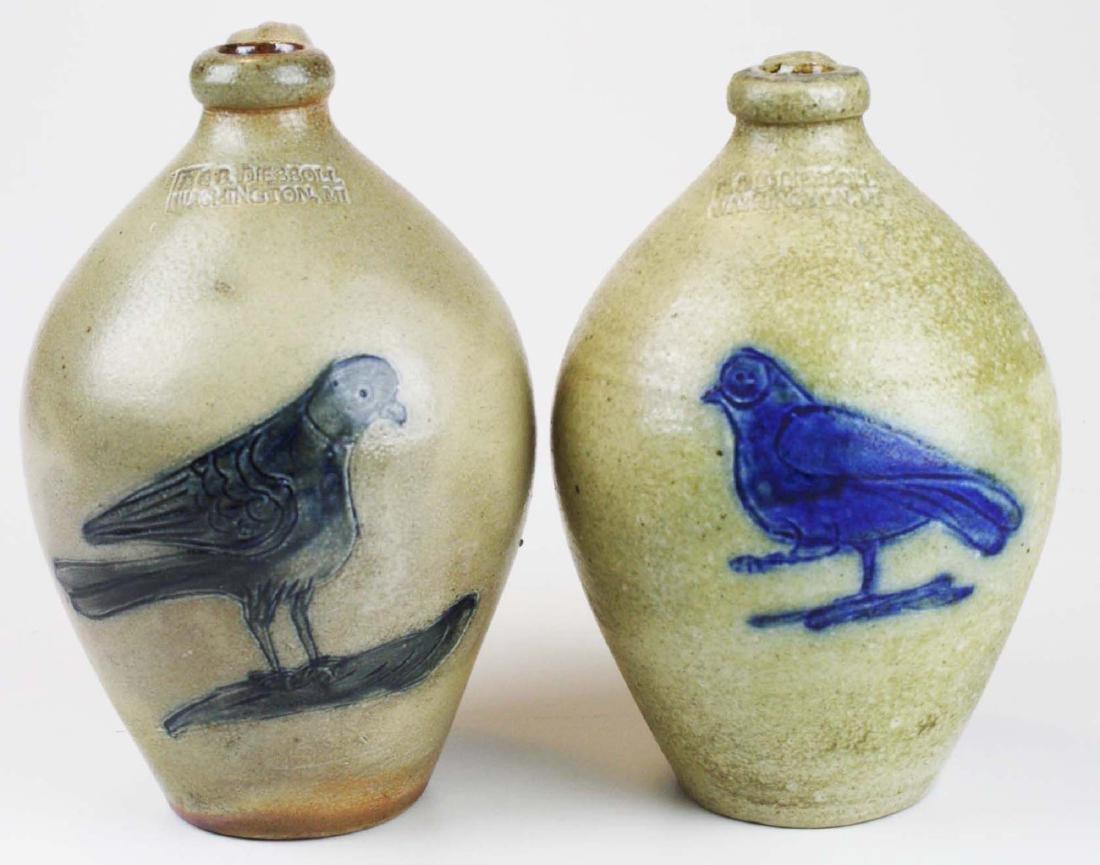 2 R & B Dieboll bird decorated ovoid crocks