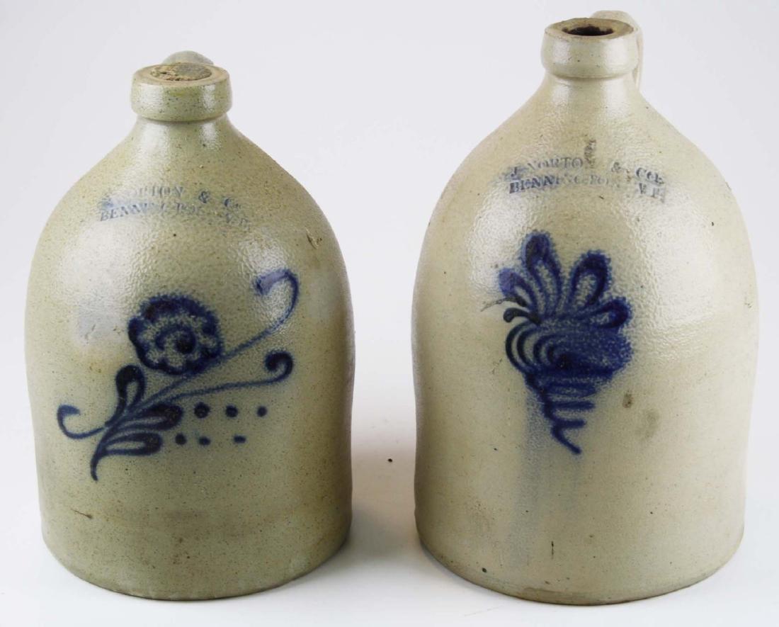 2 19th c J Norton & Co, Bennington jugs