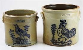 2 R  B Dieboll bird stoneware crocks