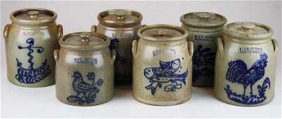 6 R  B Dieboll stoneware crocks w lids