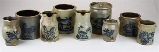 9 R  B Dieboll stoneware crocks  pitchers