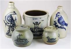 5 R  B Dieboll stoneware crocks  jugs