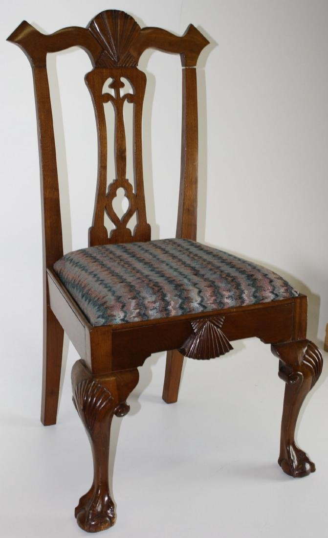 6 Colonial Rev Chippendale mahogany chairs