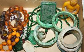 20th c Chinese jade  hardstone jewelry