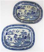 Two 19th c blue willow transferware platters