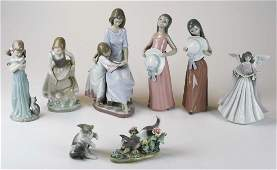 8 Lladro Spain porcelain figurines