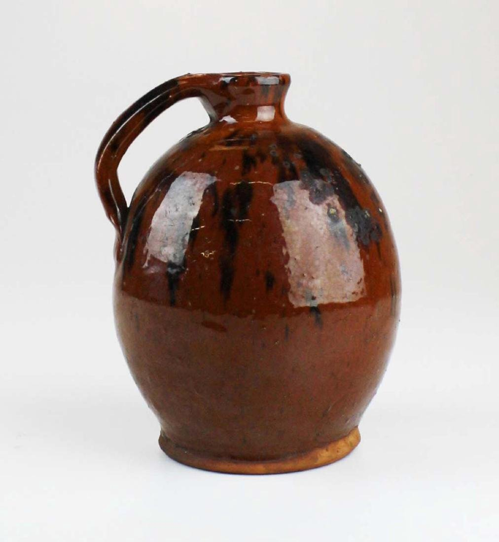 early 19th c mottled glaze redware ovoid jug
