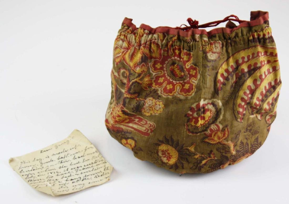 early 19th c chintzed cloth sewing bag w/ note