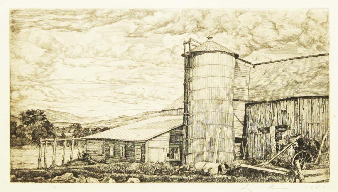 Luigi Lucioni (VT 1900-1988) Barn with silo