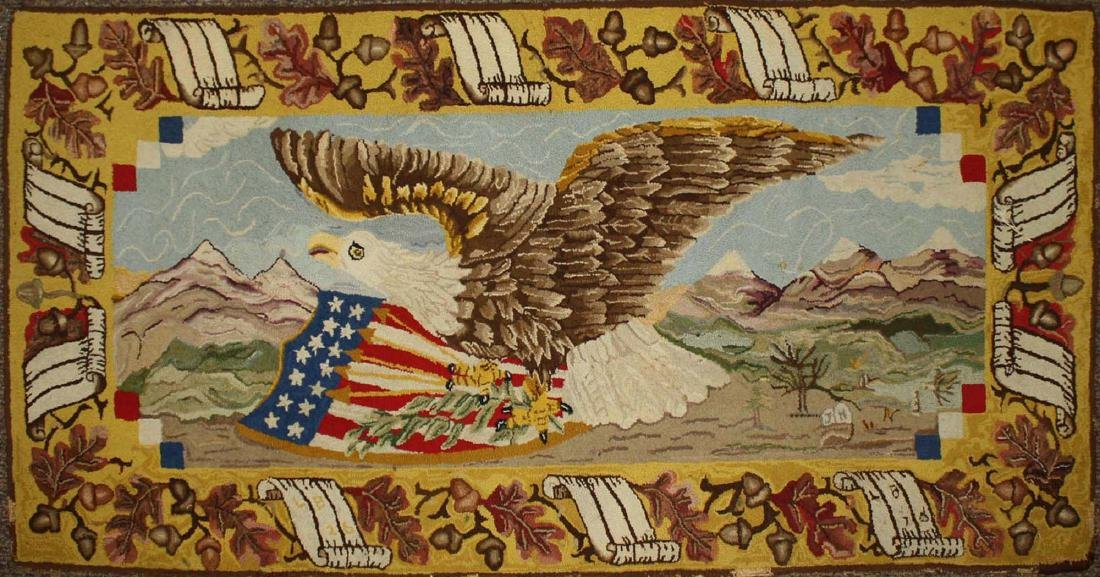 late 19th c American eagle hooked rug
