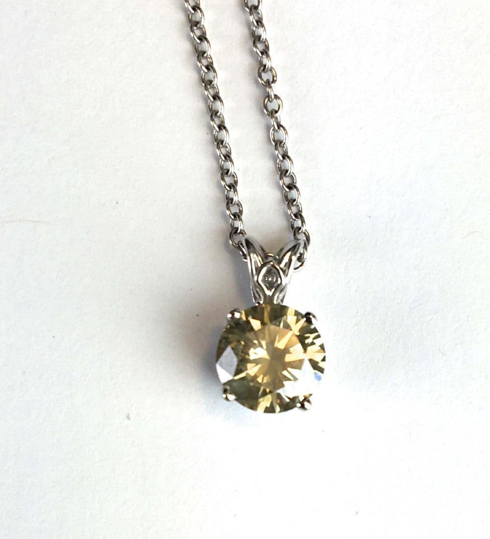 2.19 ct round cut yellow diamond pendant