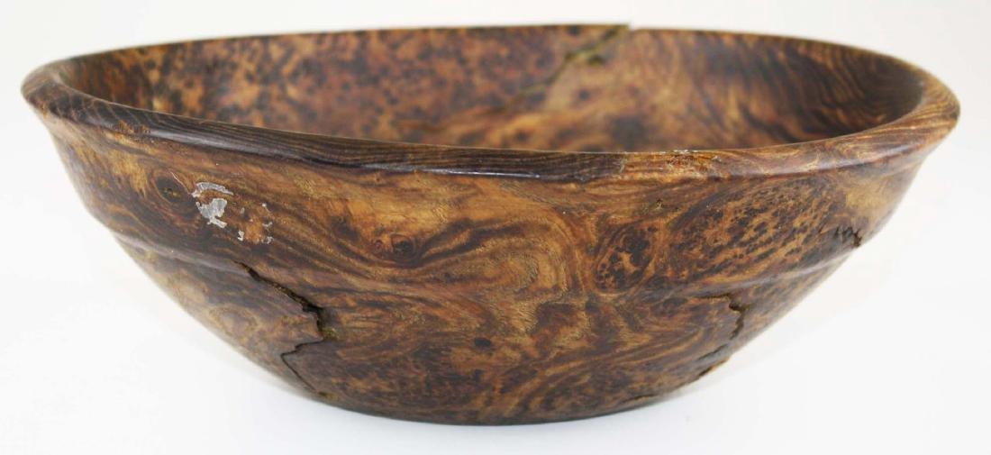 early 20th c burl ash bowl