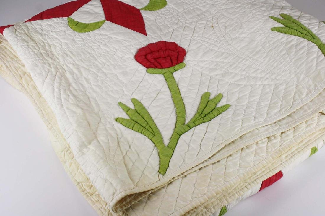 mid 19th c stuffed work applique quilt - 10