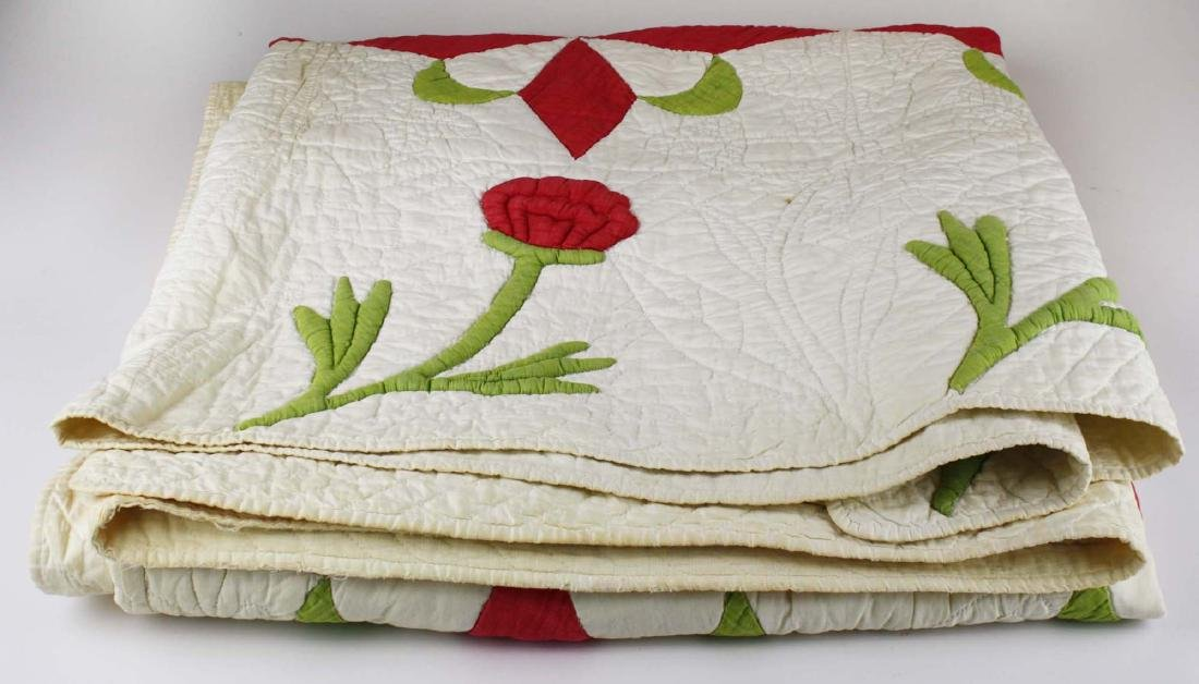 mid 19th c stuffed work applique quilt - 3
