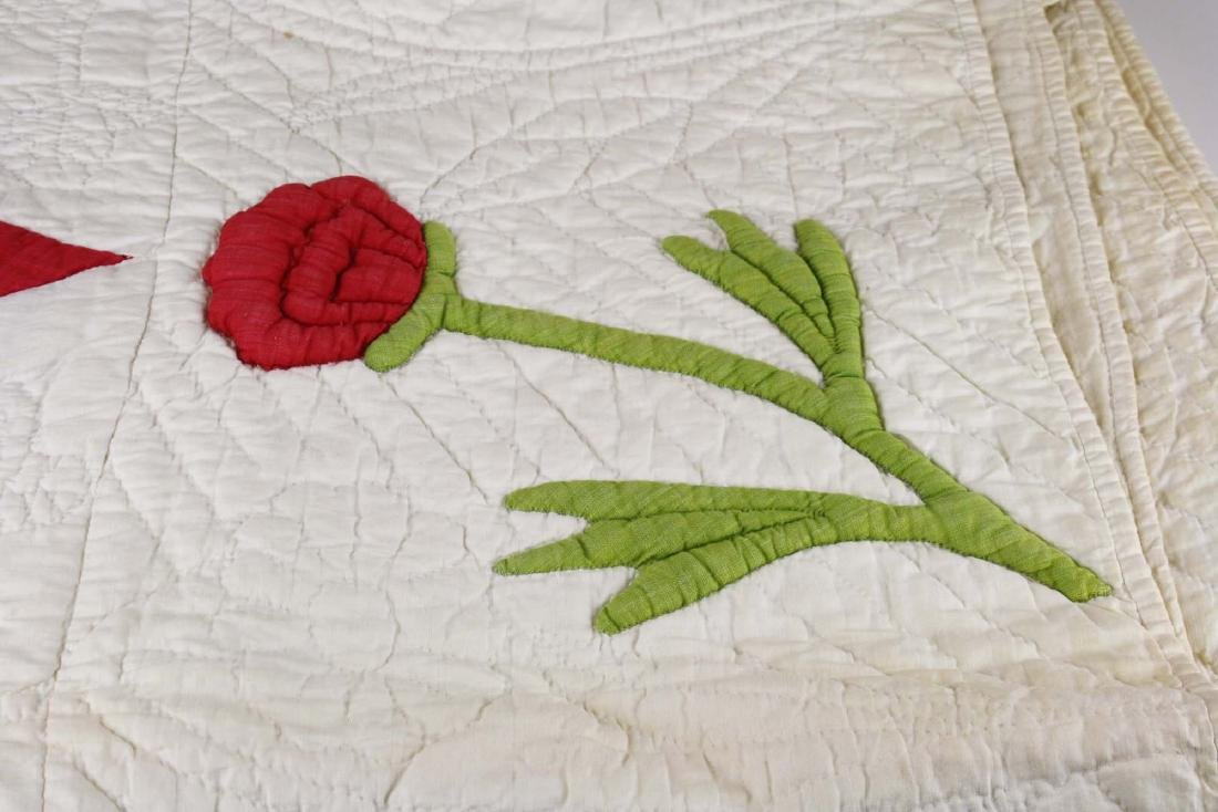 mid 19th c stuffed work applique quilt - 5