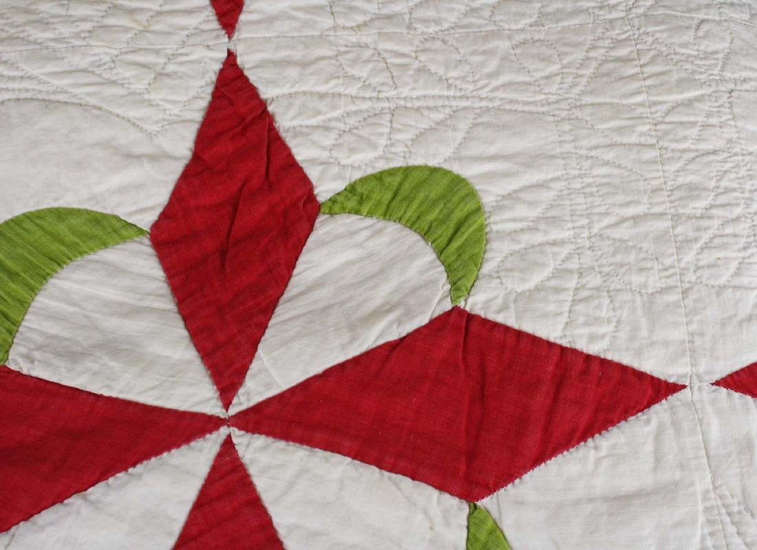 mid 19th c stuffed work applique quilt - 7