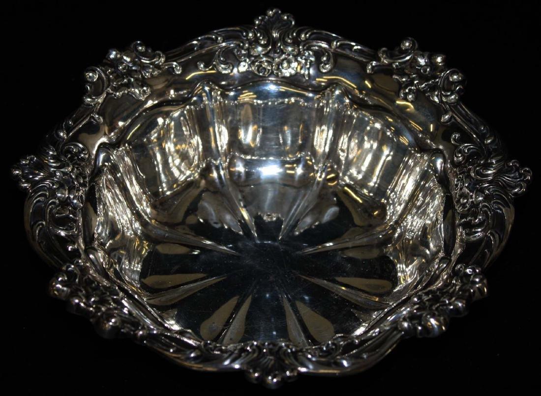 Gorham ornate sterling silver serving bowl - 4