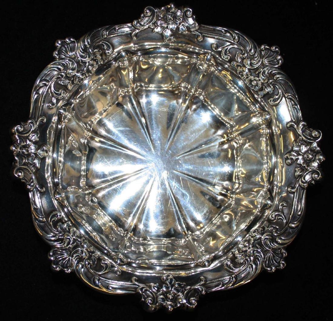 Gorham ornate sterling silver serving bowl - 5