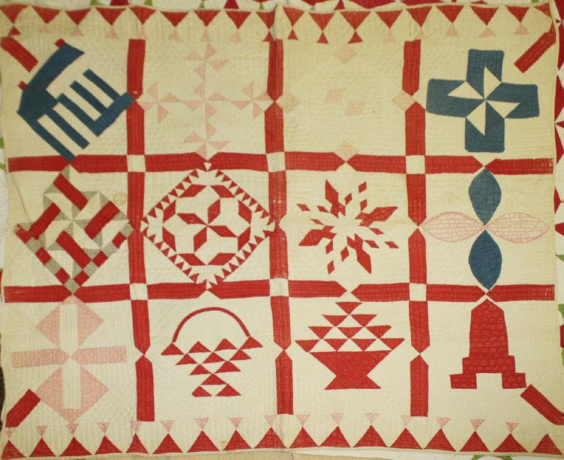 late 19th c pieced multi-pattern patchwork quilt