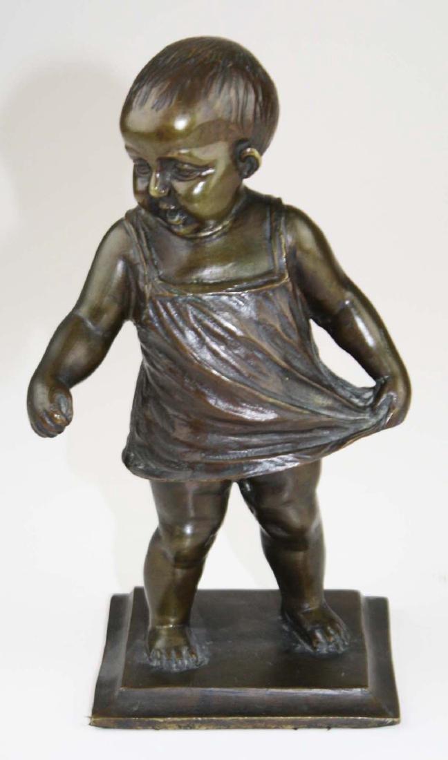 mid 20th c bronze toddler sculpture