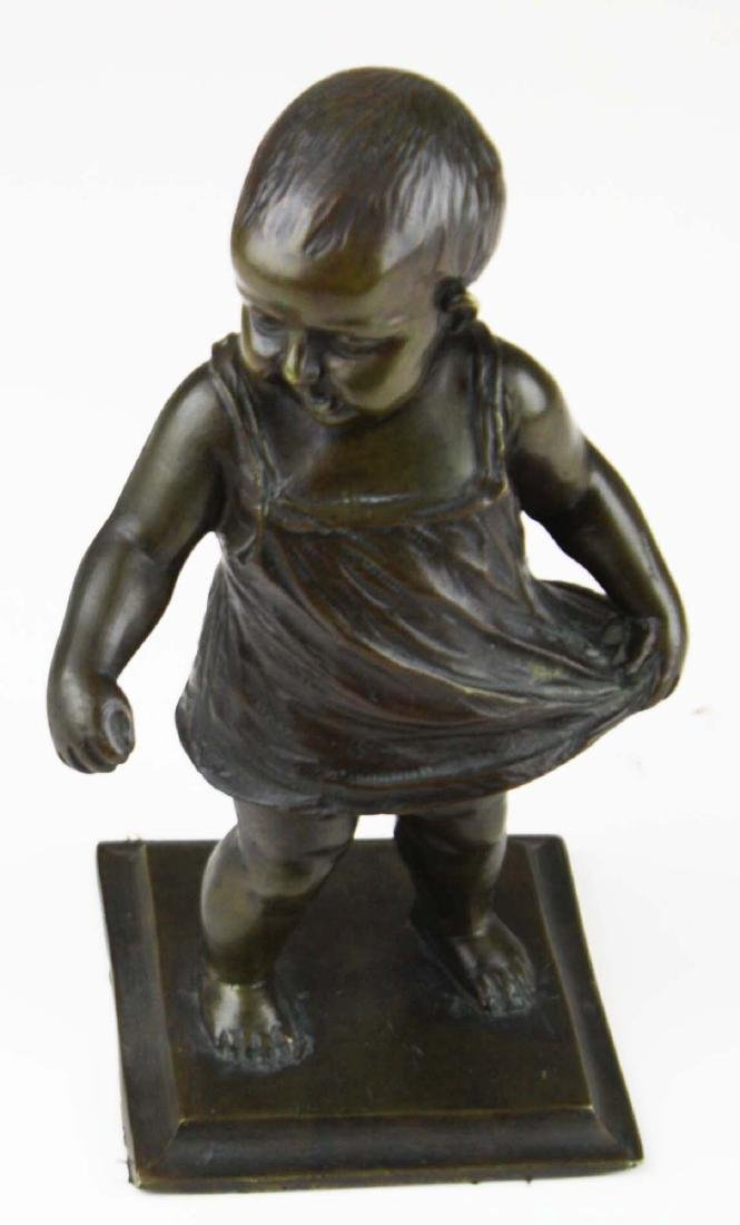 mid 20th c bronze toddler sculpture - 5
