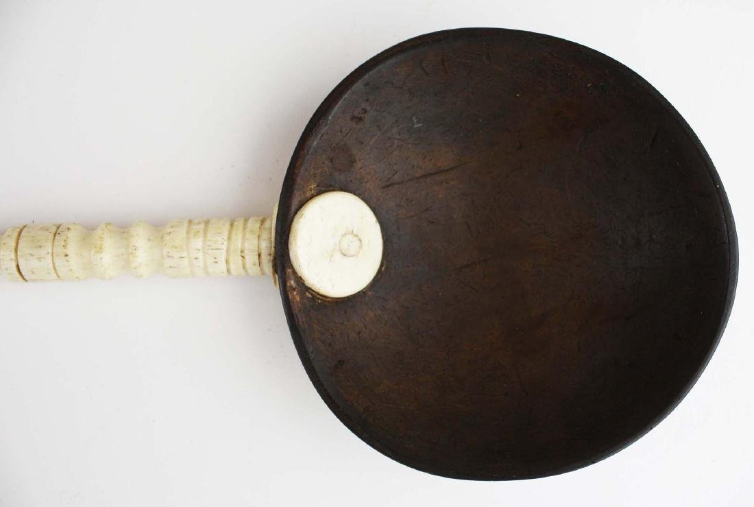 mid 19th c scrimshaw coconut shell dipper - 3