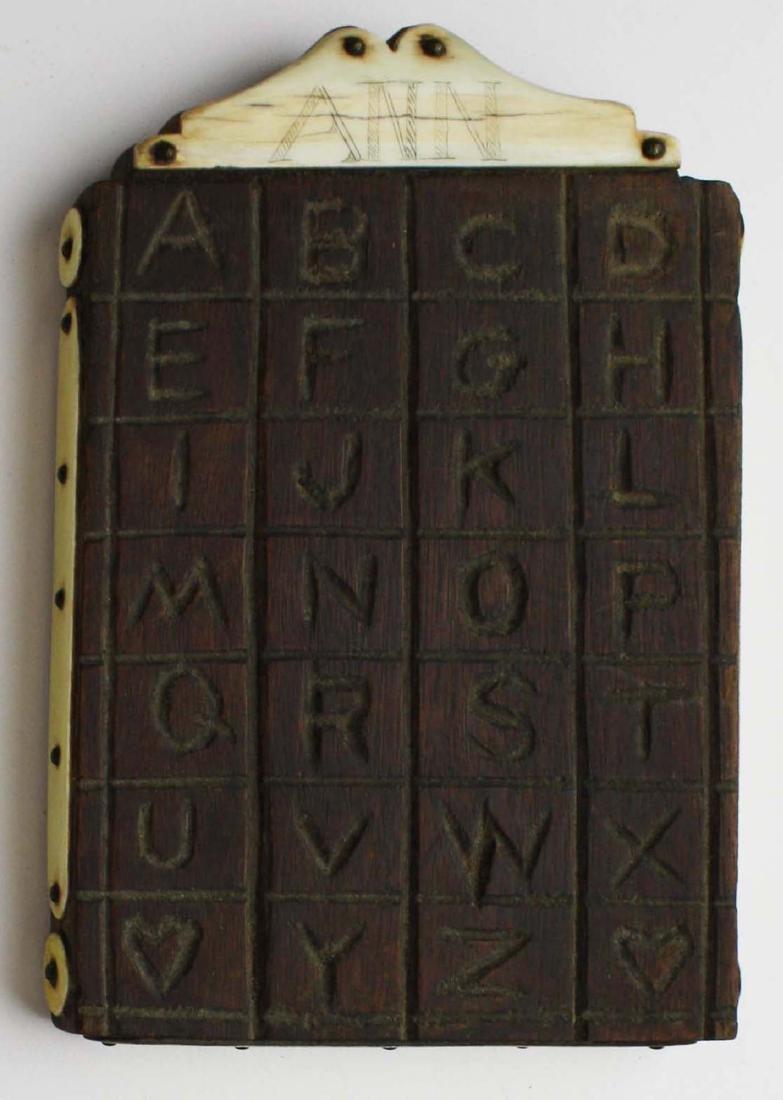 mid 19th c scrimshaw child's ABC board