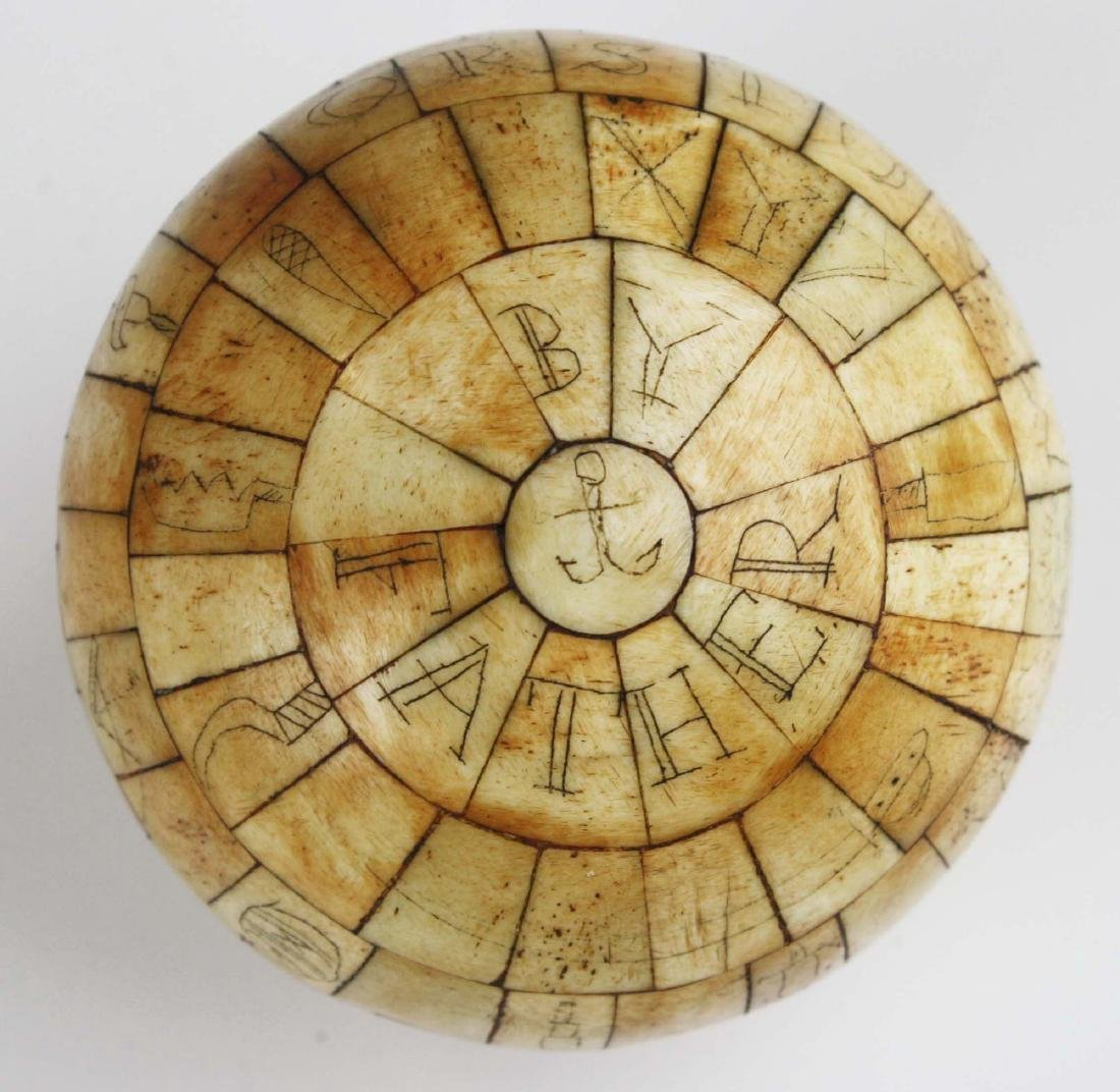 mid 19th c scrimshaw child's ABC globe - 2