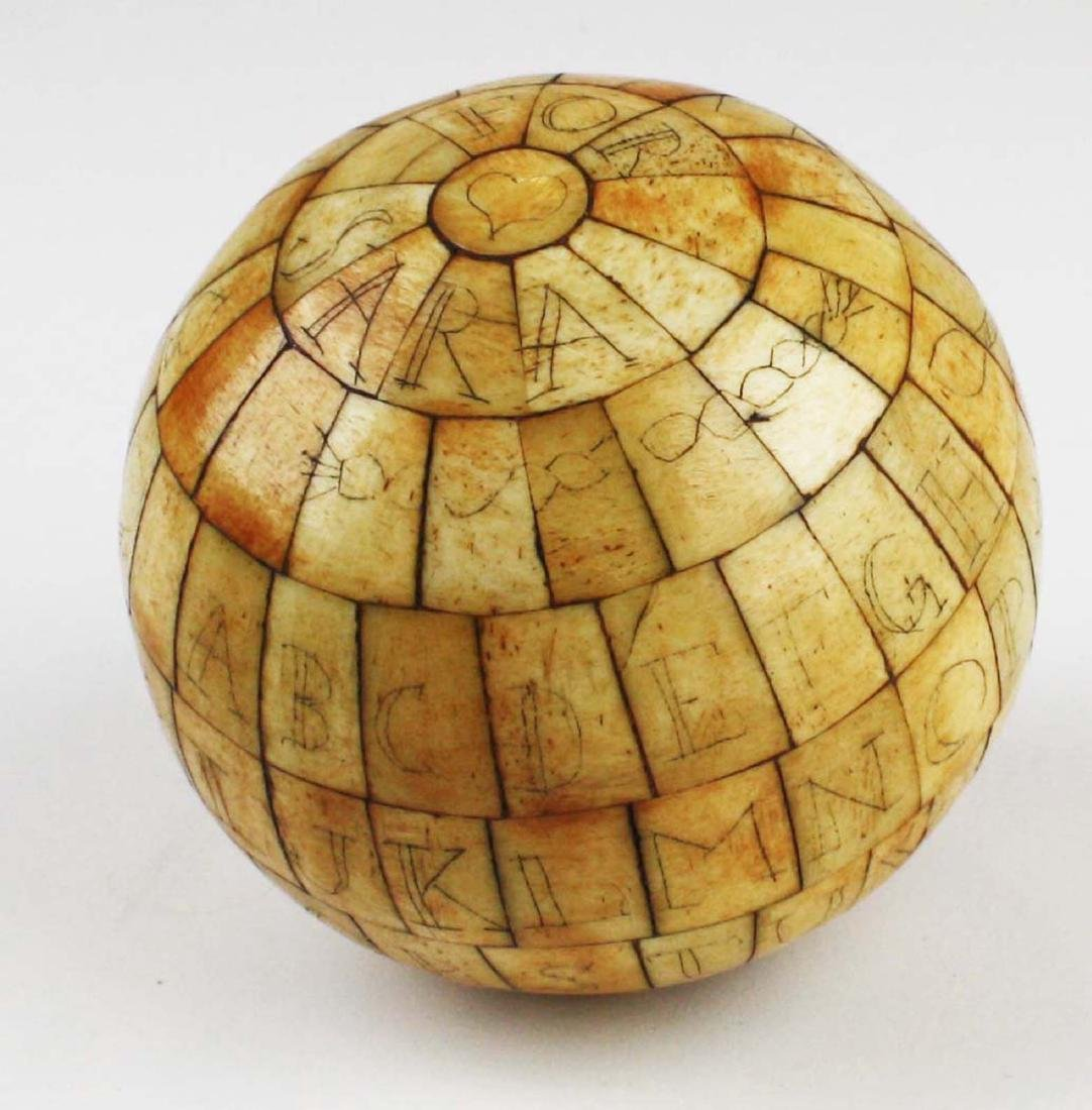 mid 19th c scrimshaw child's ABC globe - 3