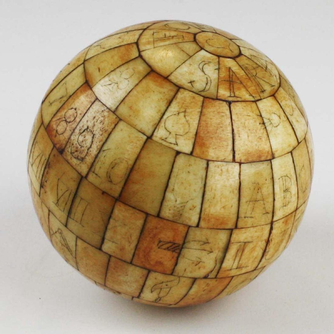 mid 19th c scrimshaw child's ABC globe - 4