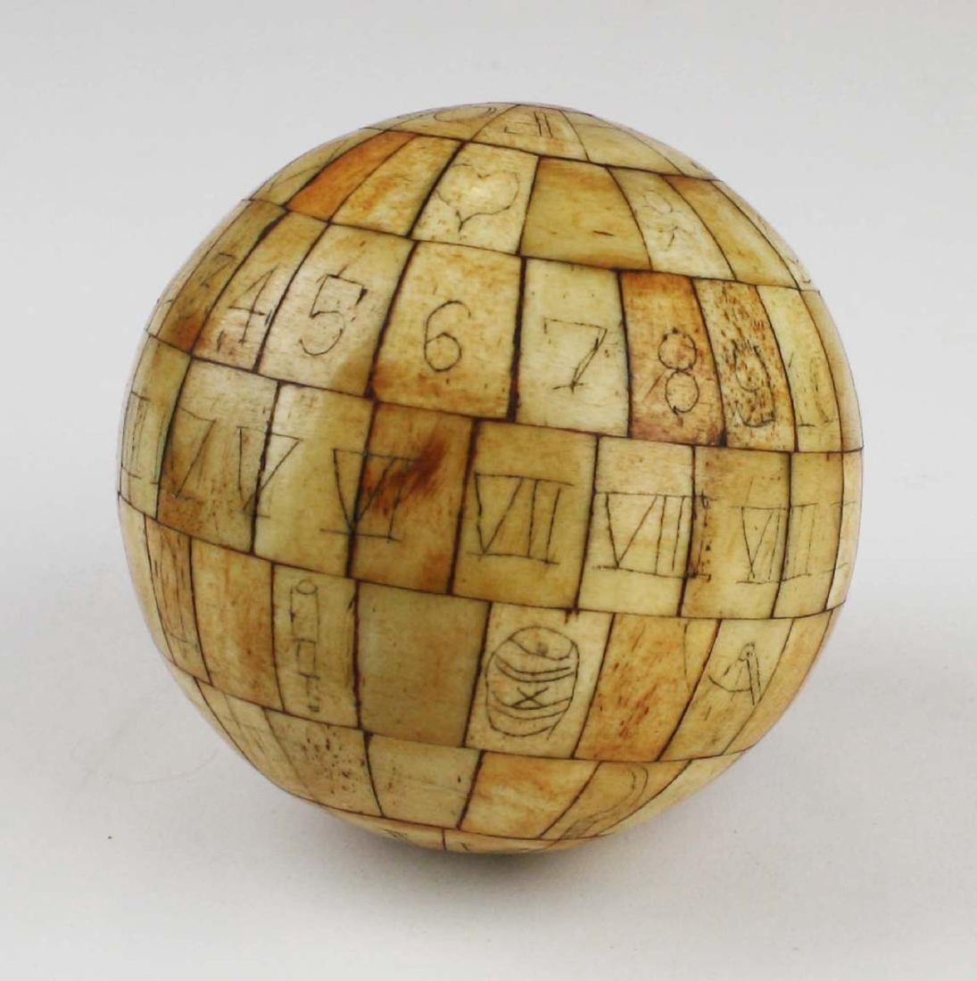 mid 19th c scrimshaw child's ABC globe - 5
