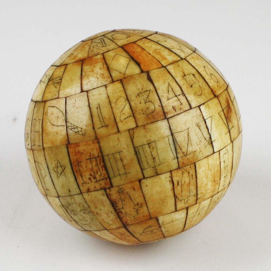 mid 19th c scrimshaw child's ABC globe - 6
