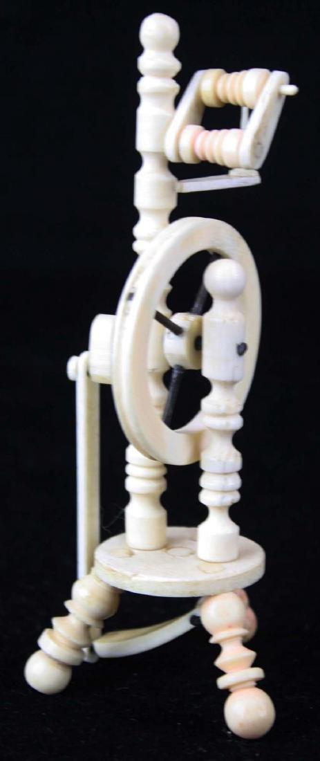 mid 19th c scrimshaw miniature spinning wheel - 4