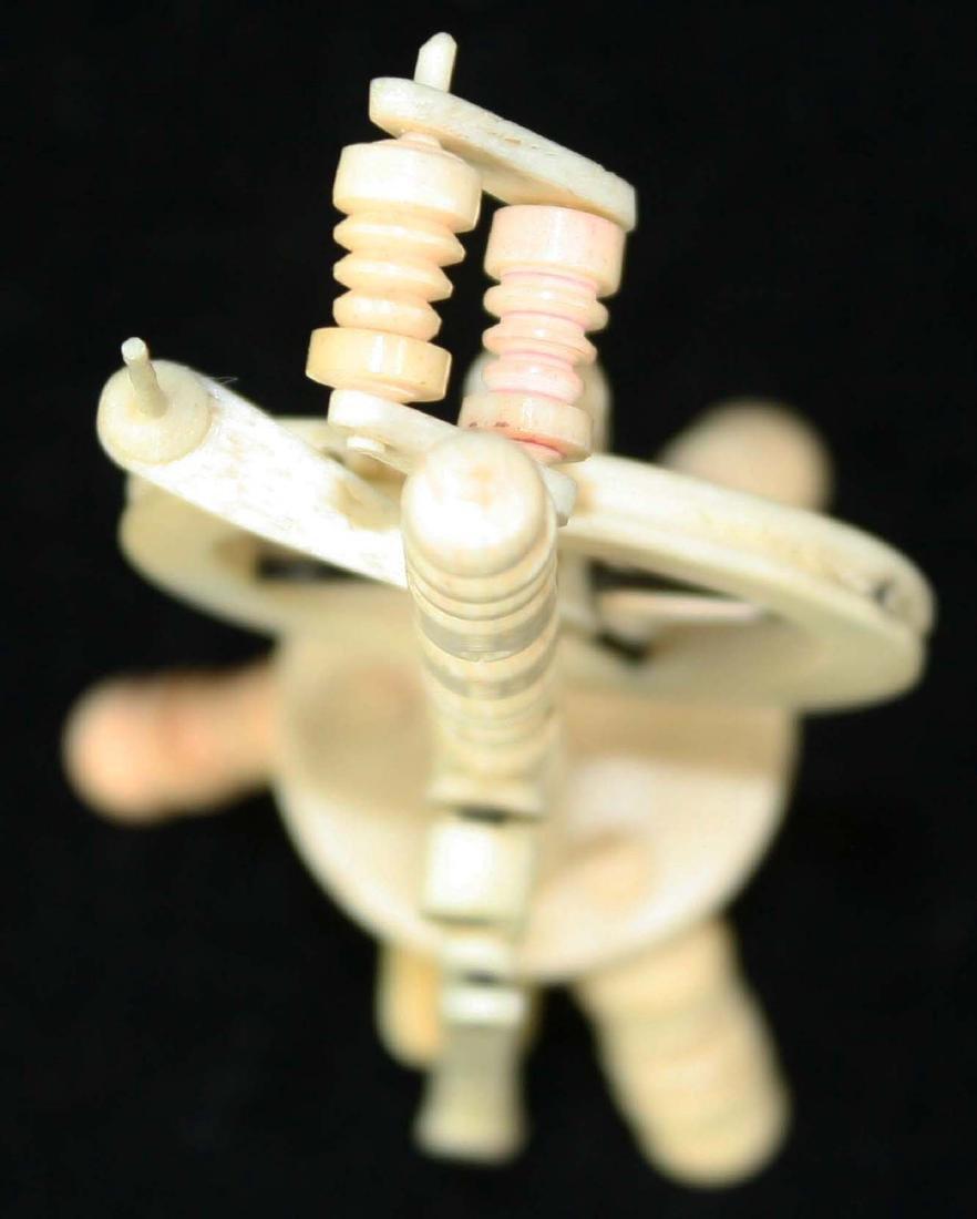 mid 19th c scrimshaw miniature spinning wheel - 6