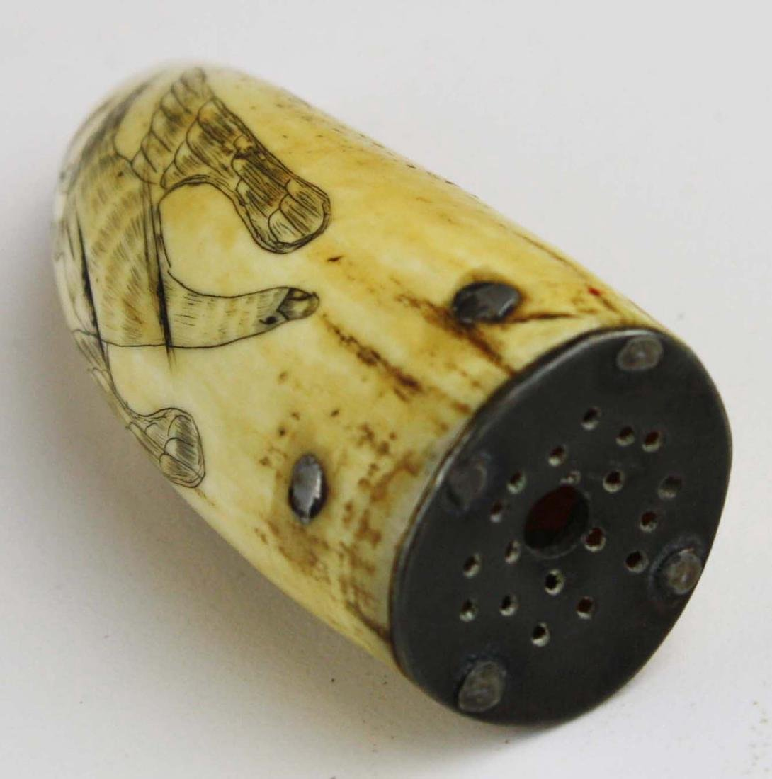 mid 19th c scrimshaw whale's tooth - 4