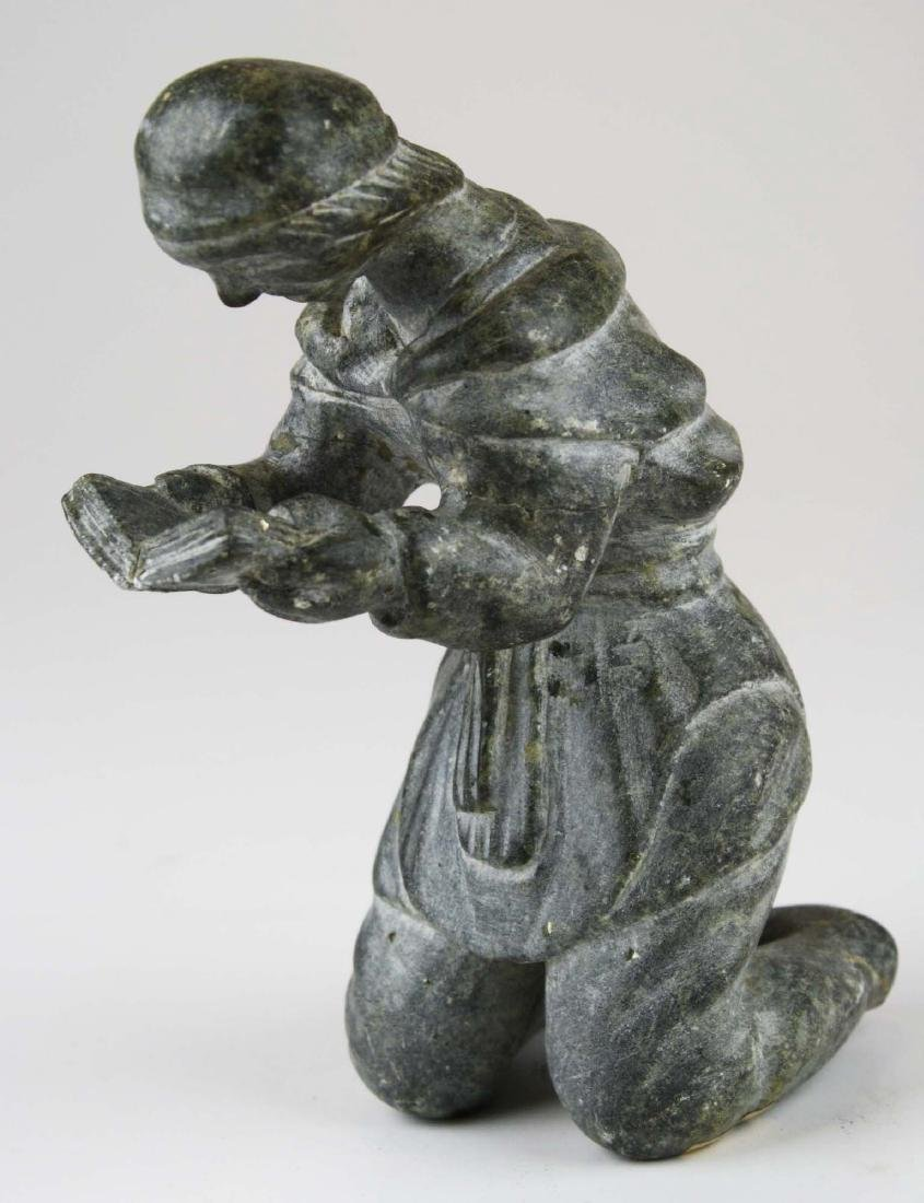 mid 20th c Inuit soapstone carving - 3