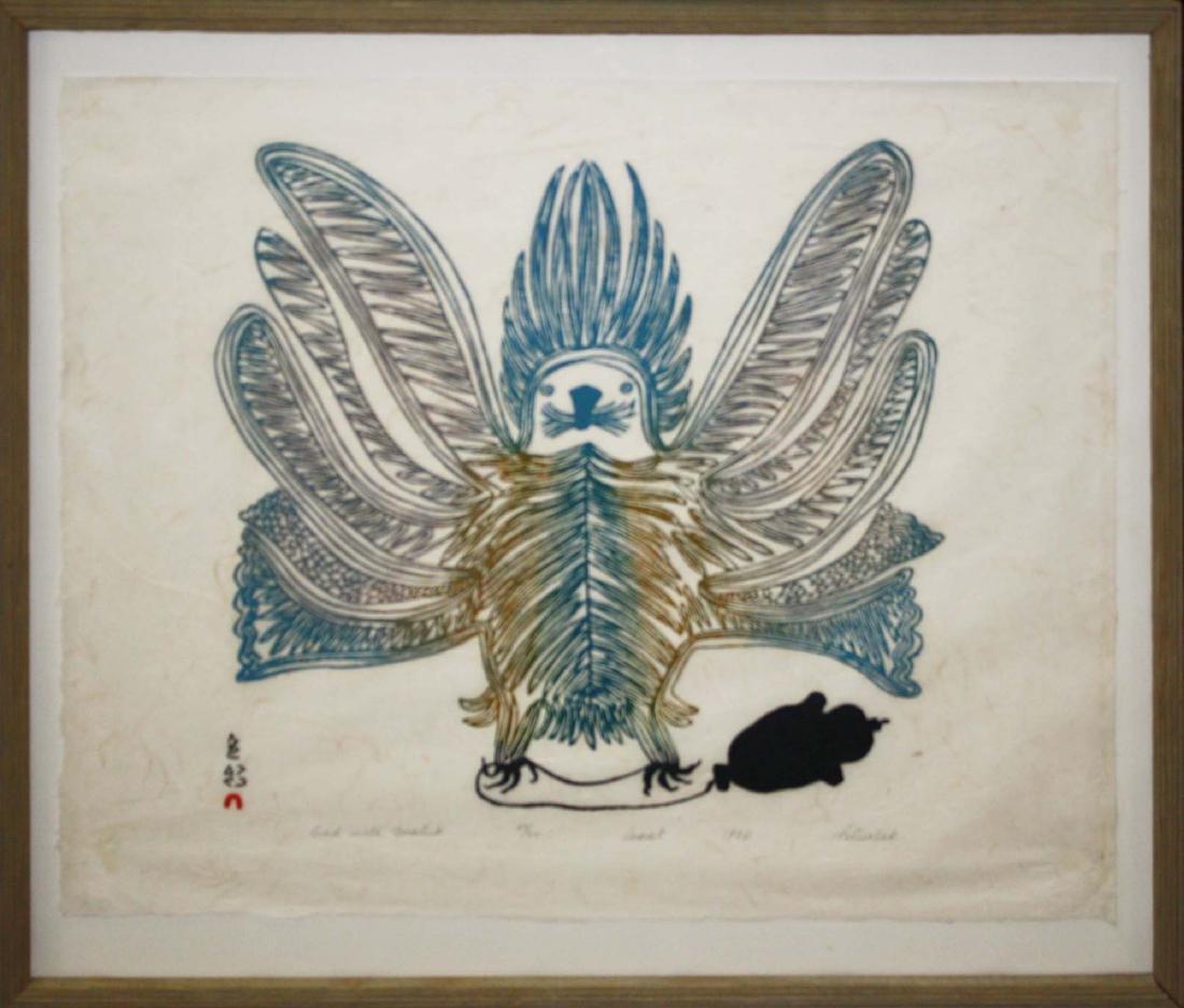 1970 Cape Dorset Inuit print signed Pitseolak