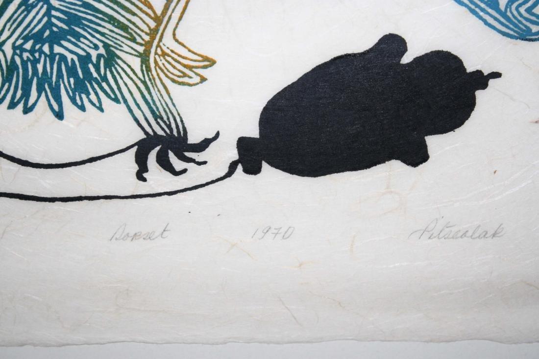 1970 Cape Dorset Inuit print signed Pitseolak - 3