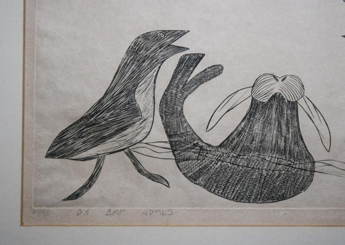 1963 Cape Dorset Inuit engraving by Kiawak - 2