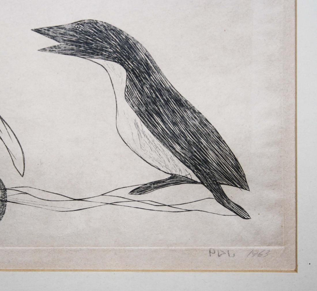 1963 Cape Dorset Inuit engraving by Kiawak - 3