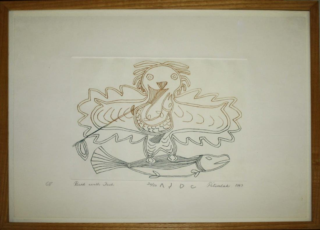 1967 Cape Dorset Inuit engraving by Pitseolak