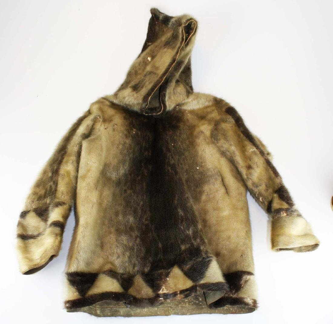 early 20th c Inuit child's sealskin parka