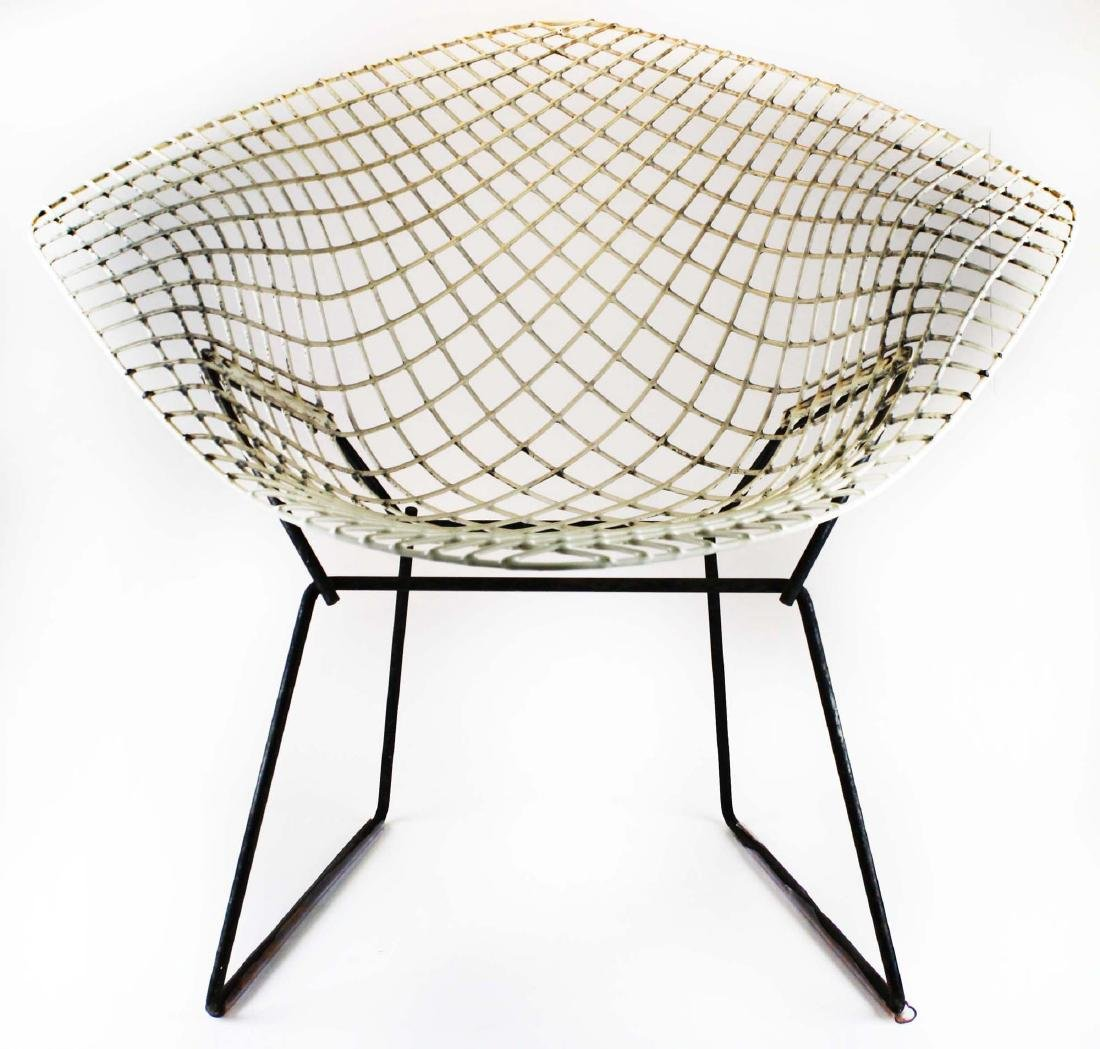 Pair of Bertoia style steel lounge chairs