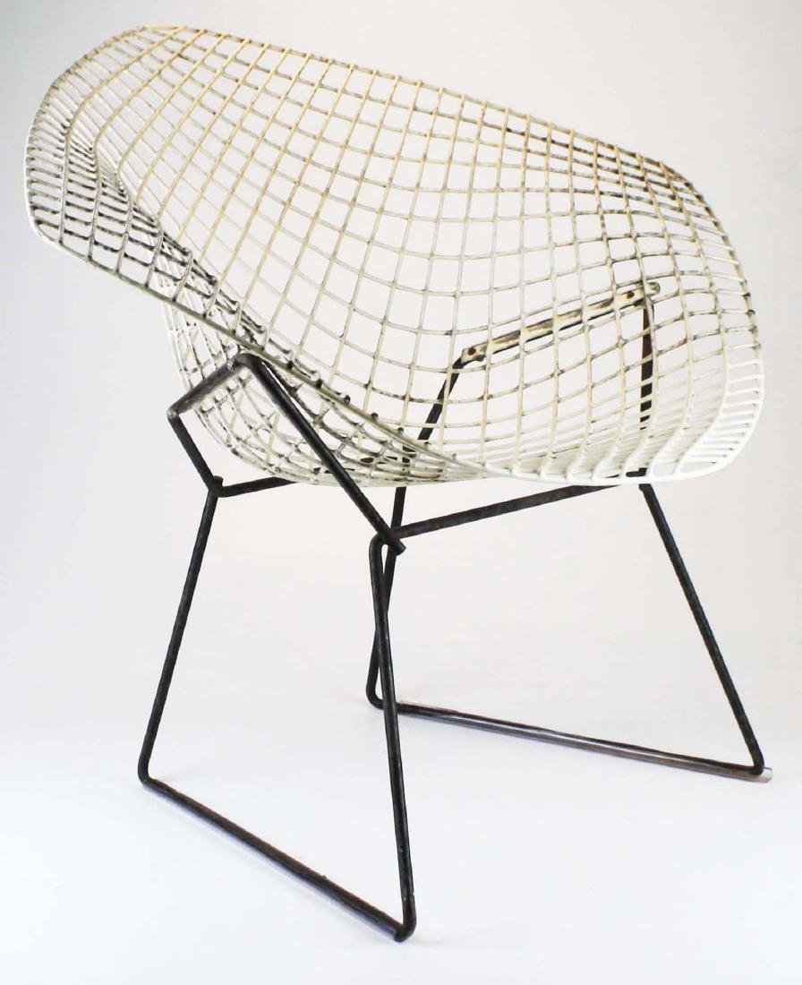 Pair of Bertoia style steel lounge chairs - 2