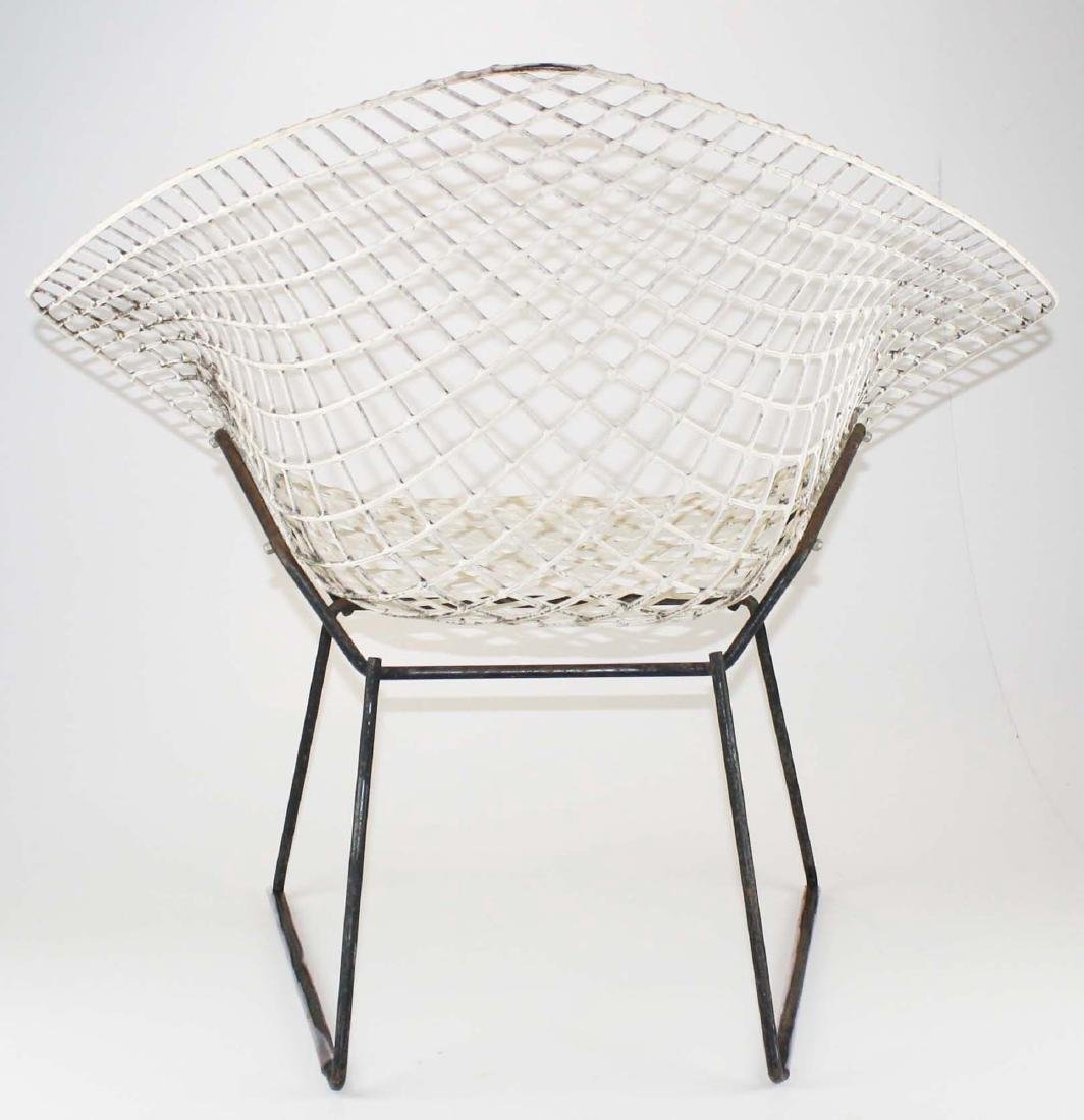 Pair of Bertoia style steel lounge chairs - 3