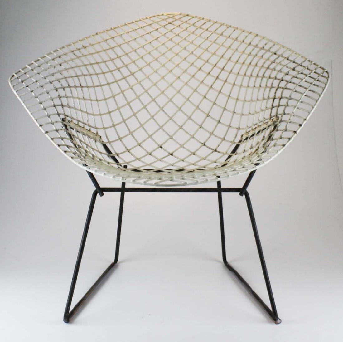 Pair of Bertoia style steel lounge chairs - 5